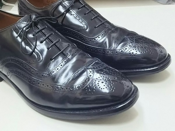 JOHNSTON&MURPHY ジョンストン&マーフィーフルブローグウイングチップ靴磨きサムネイル